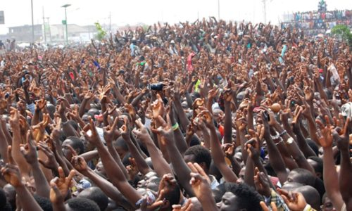 PIC 6. THE CROWD AT A PROTEST RALLY AT GANI FAWEHINMI GARDENS AT OJOTA IN LAGOS   ON FRIDAY (13/1/12).