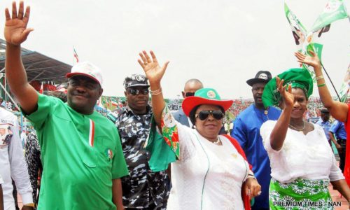 PIC. 21. FROM LEFT: RIVERS PDP GOVERNORSHIP CANDIDATE, MR NYESOM WIKE; FIRST   LADY, DAME PATIENCE JONATHAN AND RIVERS PDP DEPUTY GOVERNORSHIP CANDIDATE,   MRS IPALIBO BANIGO, AT THE PDP WOMEN RALLY IN PORT HARCOURT ON WEDNESDAY   (18/3/15). 1449/18/3/15/OCE/BJO/CH/NAN